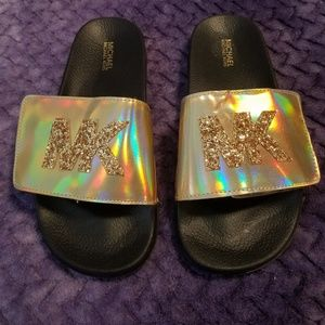 Gold holographic Michael Kors slides Size 5 Eur 36
